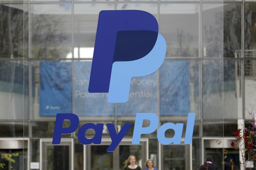 A sign outside the headquarters of PayPal, parent of Venmo, in San Jose on March 10, 2015.