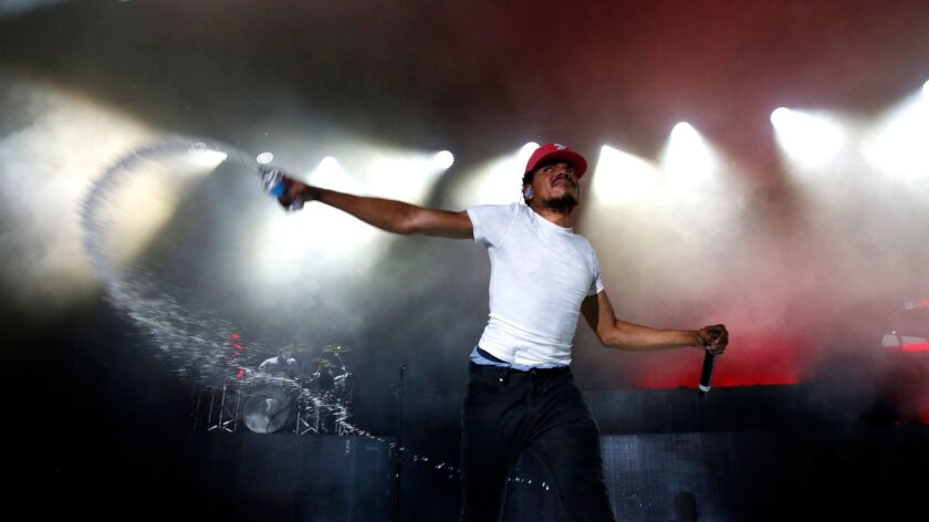 Chance the Rapper, performing at the Greek Theatre earlier this year, earned seven Grammy nominations.