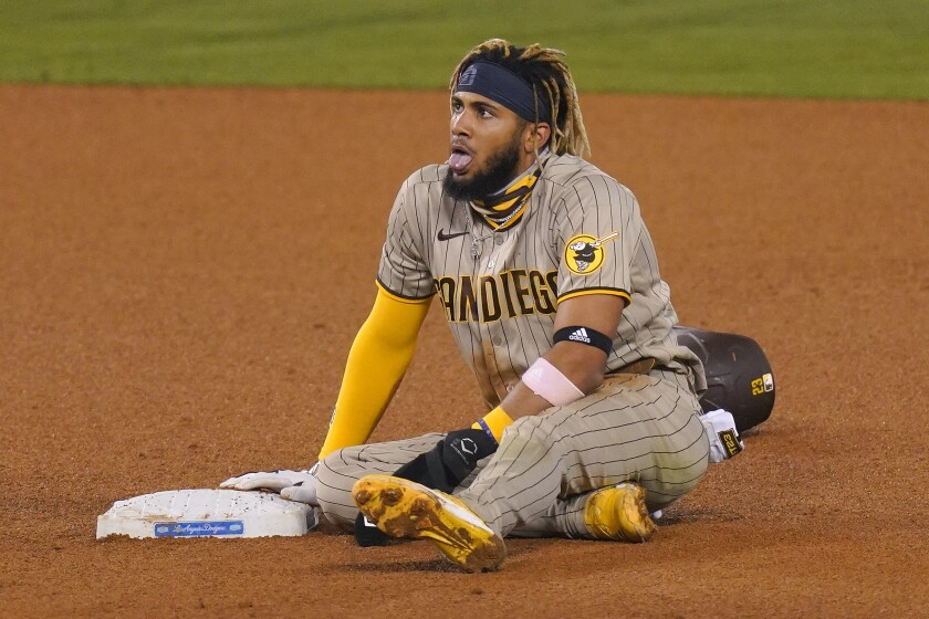 Fernando Tatis Jr. takes a breather after stealing second base at Dodger Stadium.