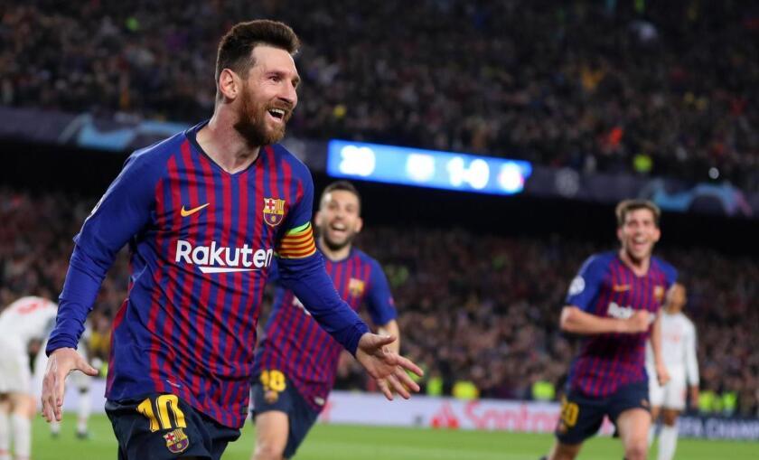 Lionel Messi celebra tras su golazo sobre Liverpool, en la pasada edición de la Champions League.