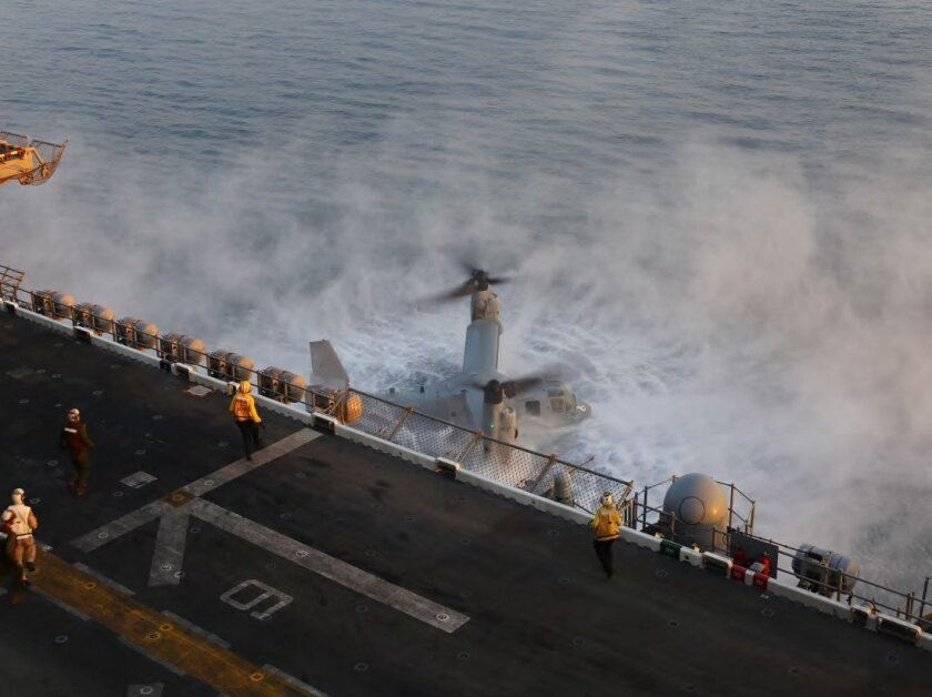 An MV-22 Osprey crashes into the Arabian Sea on Oct. 1, 2014 during a deadly mishap that inspired safety changes. (U.S. Marine Corps photo/released.)