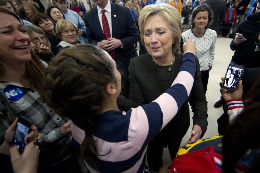 Hillary Clinton campaigns in Derry, N.H.