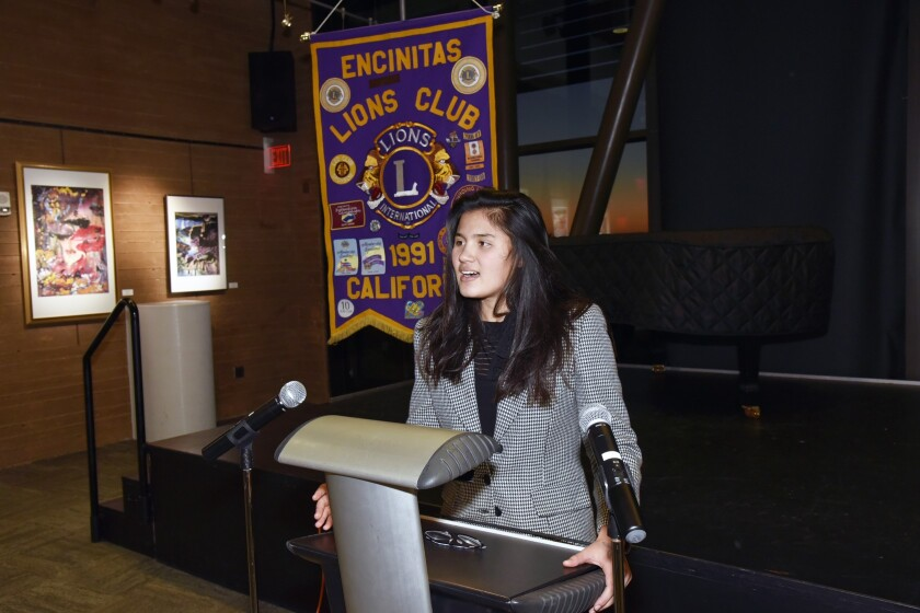 Halle Schaffer speaking before the Encinitas Lions Club back in January.