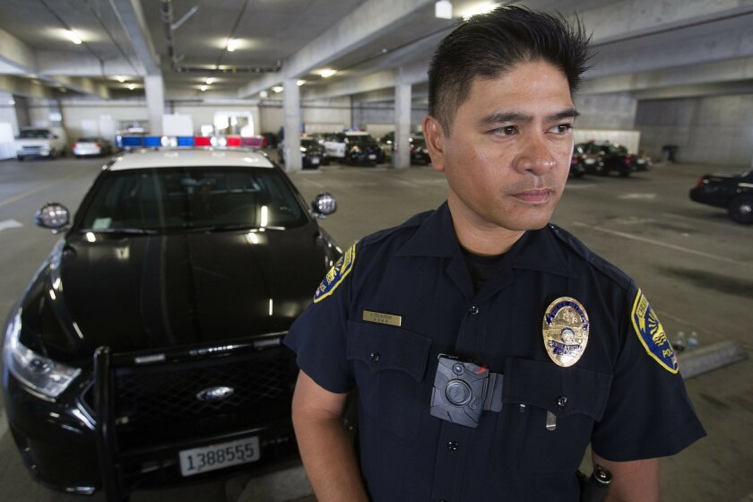 Chula Vista Police Department is one of the agencies in San Diego County using cameras while they are out on calls. The camera is mounted in the front of the officers uniform and has a fisheye camera lens.  Officers turn the camera on at their discretion. Officer Alan De La Pena stands in front of