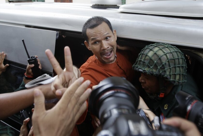 Meach Sovannara leaves an appellate court hearing in Cambodia in 2016.