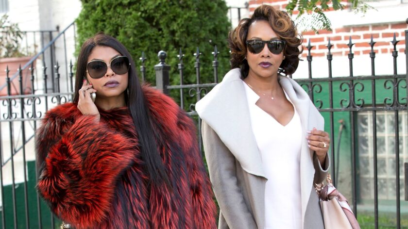 """Fox's """"Empire"""" (featuring Taraji P. Henson and guest star Vivica A. Fox, above), was one of the tiny percentage of scripted broadcast shows with a majority-minority in the writer's room."""