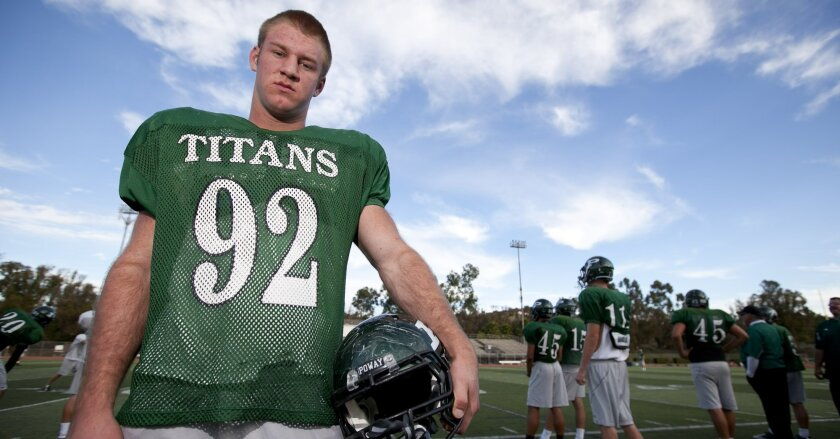 Poway lineman Brian Guendling has helped the Titans to a 10-0-1 record.