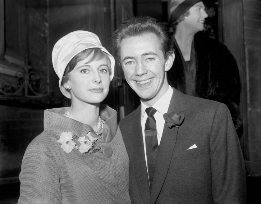Actor and singer Noel Harrison, seen here in 1959 with his first wife, Sara Tufnell, died Saturday of a heart attack at the age of 79.