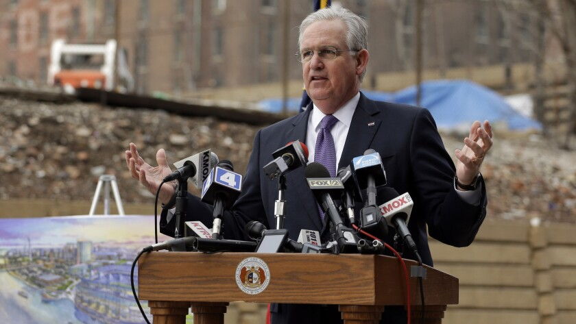 Missouri Gov. Jay Nixon appears at a news conference Tuesday at the site of a proposed NFL stadium for the St. Louis Rams.