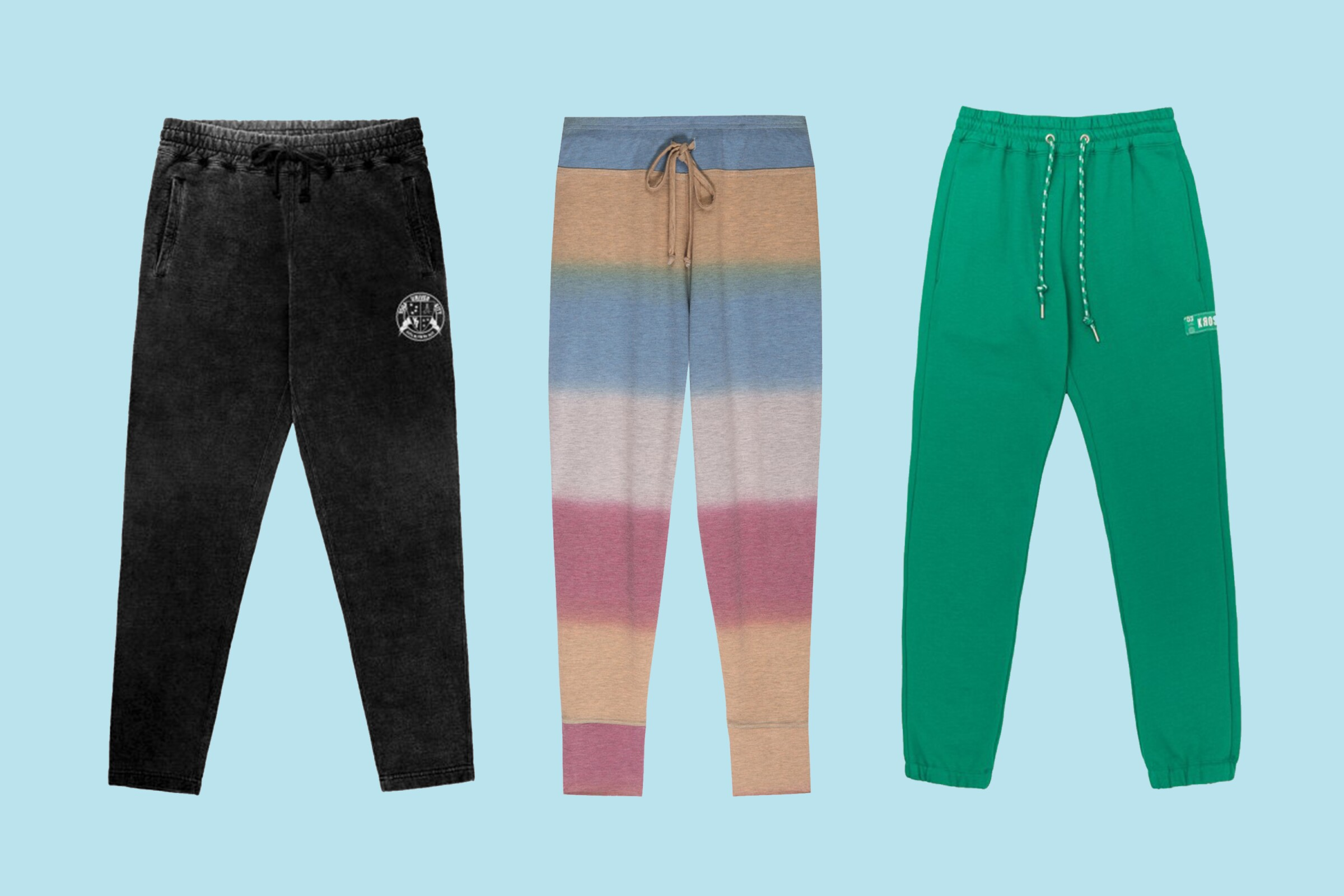 Joggers from the Y7 X Nike collaboration, $70, from left; jogger pants from B Collection by Bobeau, $68; and unisex sweatpants from Krost New York, $116.