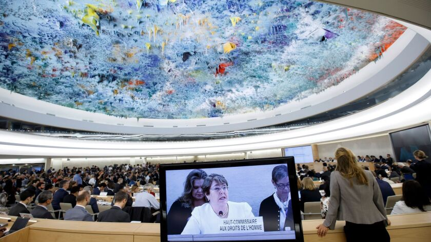Human Rights Council at United Nations in Geneva, Switzerland - 10 Sep 2018
