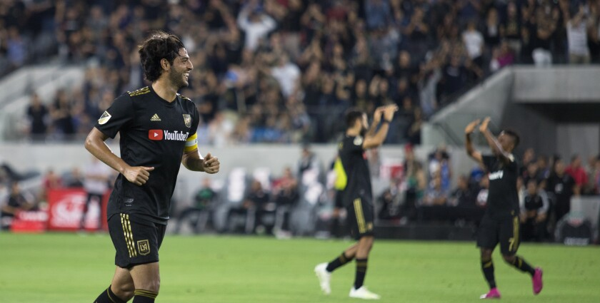 LAFC's Carlos Vela after assisting on a goal during a win over the New York Red Bulls on Aug. 11.
