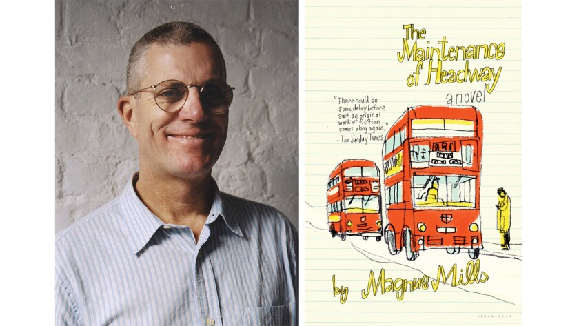 """Author Magnus Mills and the cover of the book """"The Maintenance of Headway"""""""