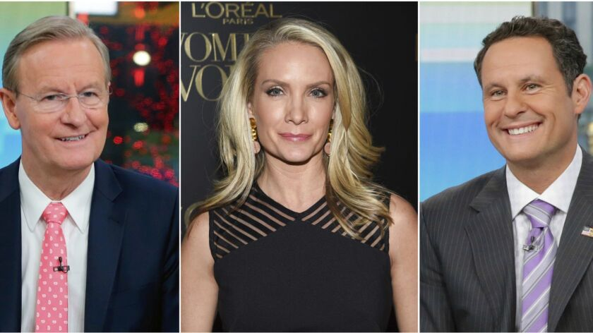 This combination of photos shows Fox News Channel personalities, from left, Steve Doocy, Dana Perino