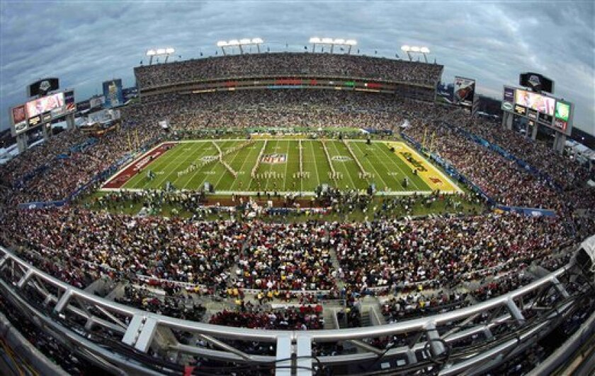 Fans fill the stadium before the start of the NFL Super Bowl XLIII football game between the Pittsburgh Steelers and the Arizona Cardinals, Sunday, Feb. 1, 2009, in Tampa, Fla. (AP Photo/Charlie Riedel)