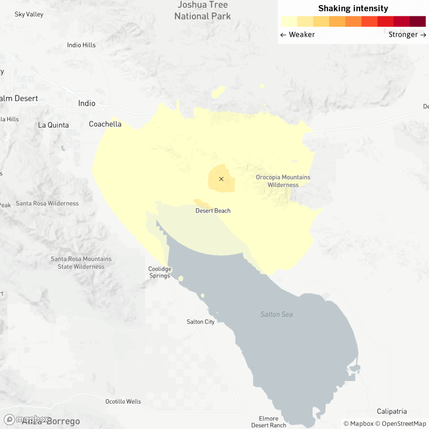 A magnitude-3.5 earthquake was reported at 8:58 a.m. Monday near Coachella.