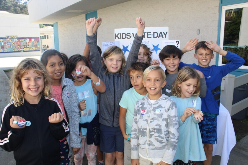 Paul Ecke students celebrate Kids Vote Day on Nov. 5.