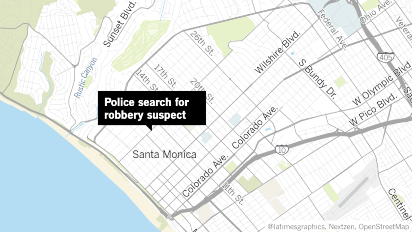 Police were searching an area near the 900 block of Montana Avenue in Santa Monica