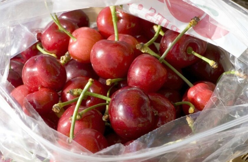 Royal Kay cherries grown by Murray Family Farms in Arvin, at the Santa Monica farmers market.