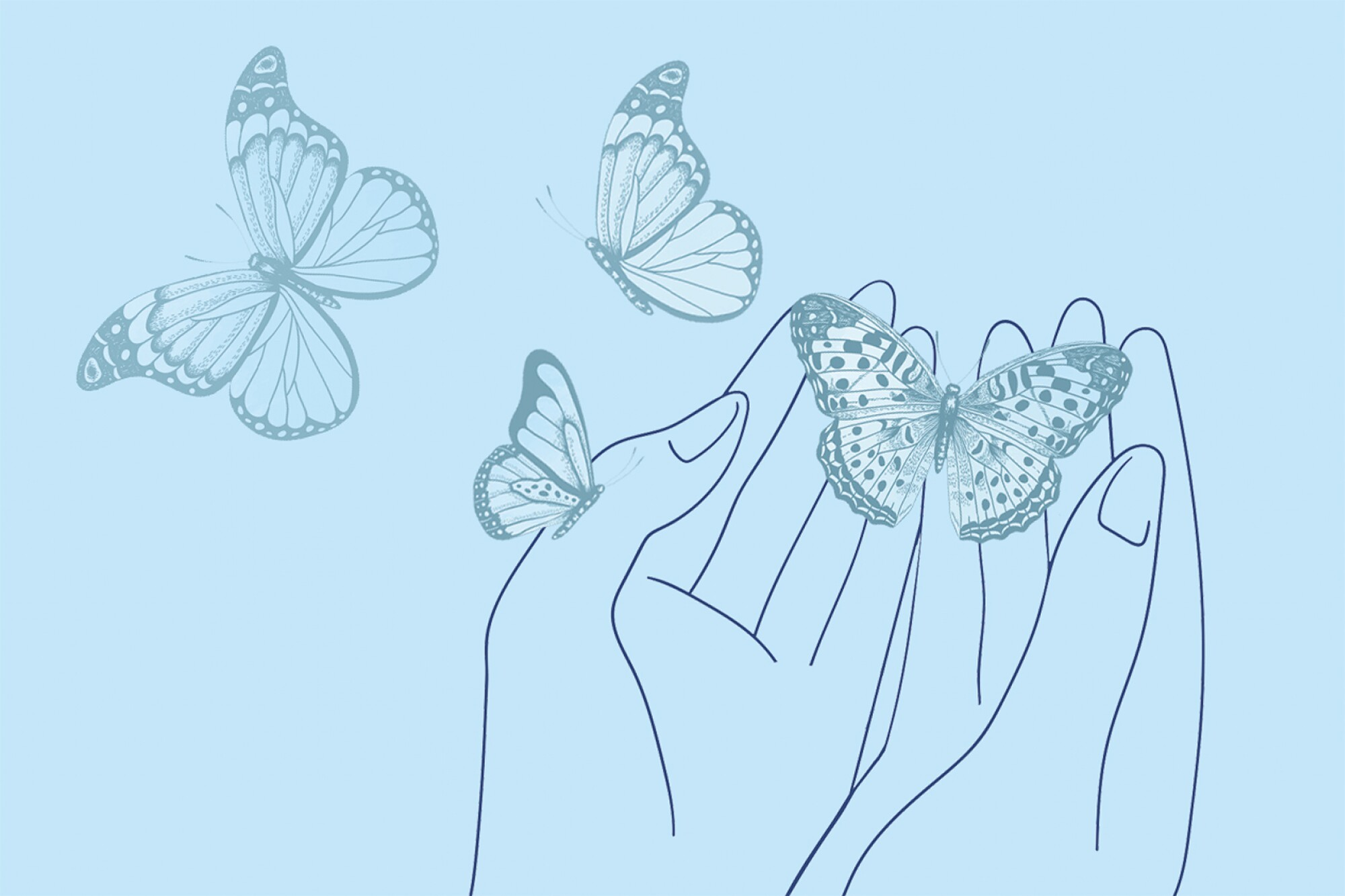 Drawing of butterflies leaving a hand.