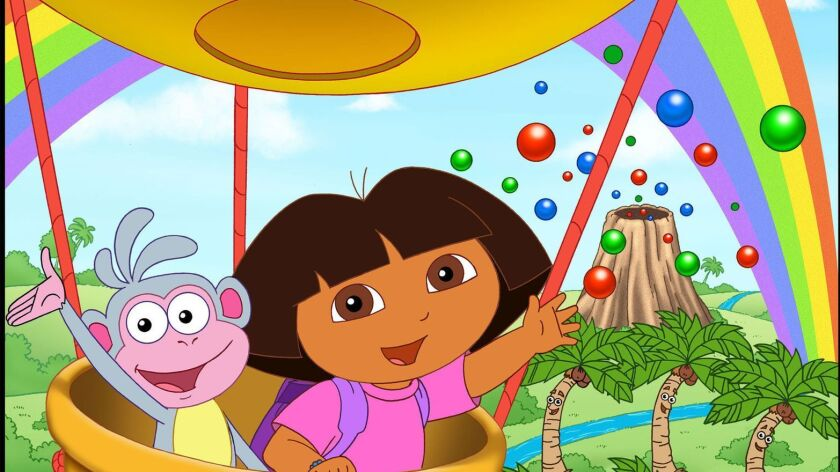 Dora and Boots the monkey wave from a hot-air balloon in a scene from the animated series.