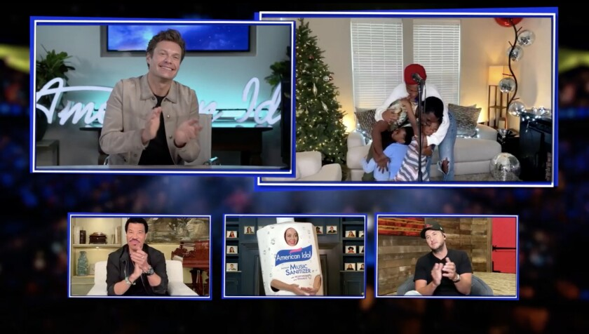 """Clockwise from top left: Host Ryan Seacrest, contestant DeWayne Crocker Jr. and judges Luke Bryan, Katy Perry and Lionel Richie in the first-ever remote episode of """"American Idol."""""""