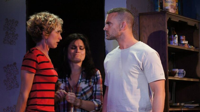 "Amanda Morrow, Hannah Logan and Steve Froehlich in Ion Theatre's ""Bug."" CREDIT: Ron Logan"