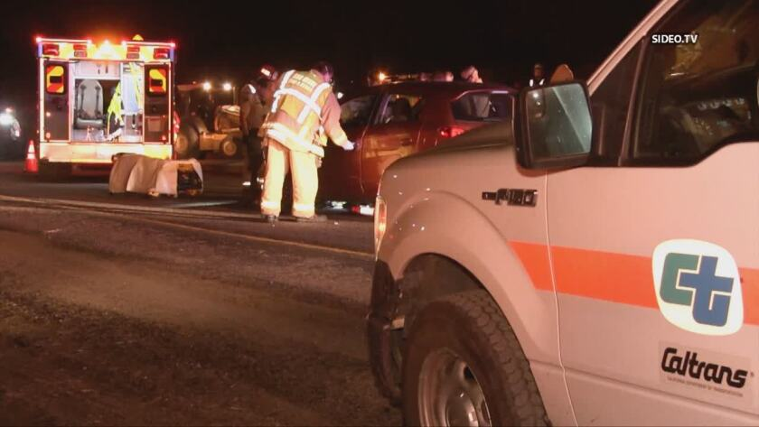 A construction worker was hit and killed on eastbound state Route 94 near the Avocado Boulevard exit early Wednesday morning.