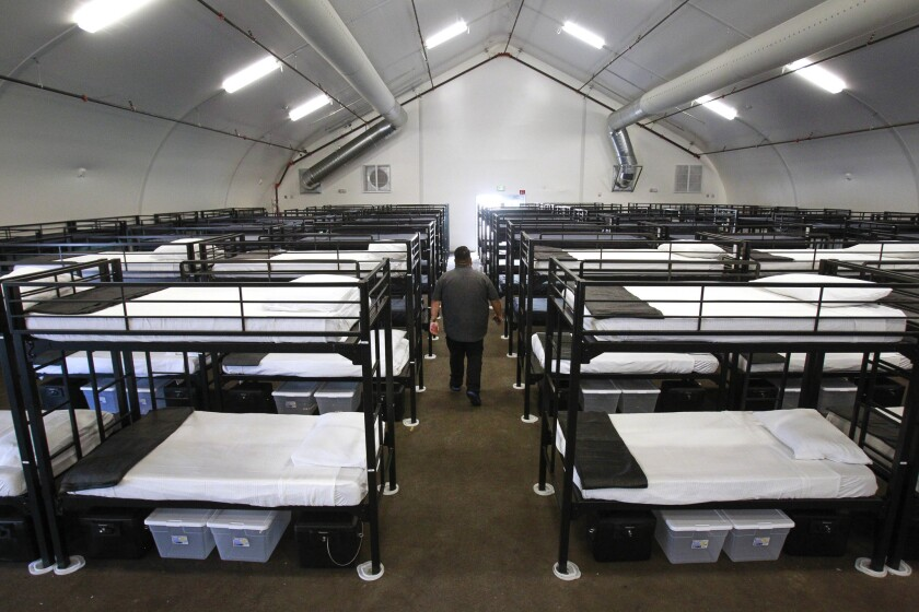SAN DIEGO, January 4, 2018 | Beds are set up at a third bridge shelter, that will be for families an
