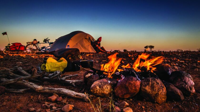 Camping somewhere along the Oodnadatta Track in South Australia during an 18-month tandem ride throu