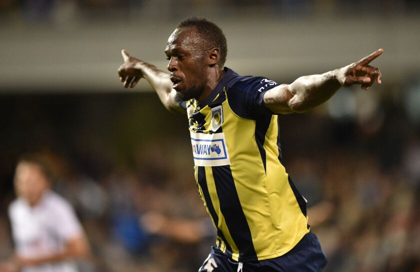 Former Olympic sprinter Usain Bolt celebrates scoring a goal for a soccer team in Australia in 2018.