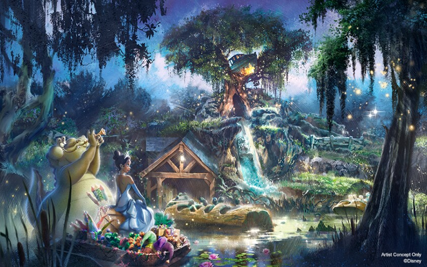 """Princess Tiana will soon move into Splash Mountain, which will incorporate characters from """"The Princess and the Frog."""""""