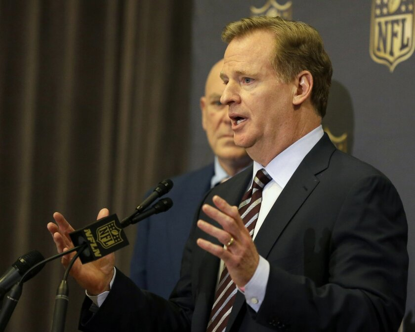NFL Commissioner Roger Goodell talks to the media after team owners voted Tuesday, Jan. 12, 2016, in Houston to allow the St. Louis Rams to move to a new stadium just outside Los Angeles, and the San Diego Chargers will have an option to share the facility. (AP Photo/Pat Sullivan)