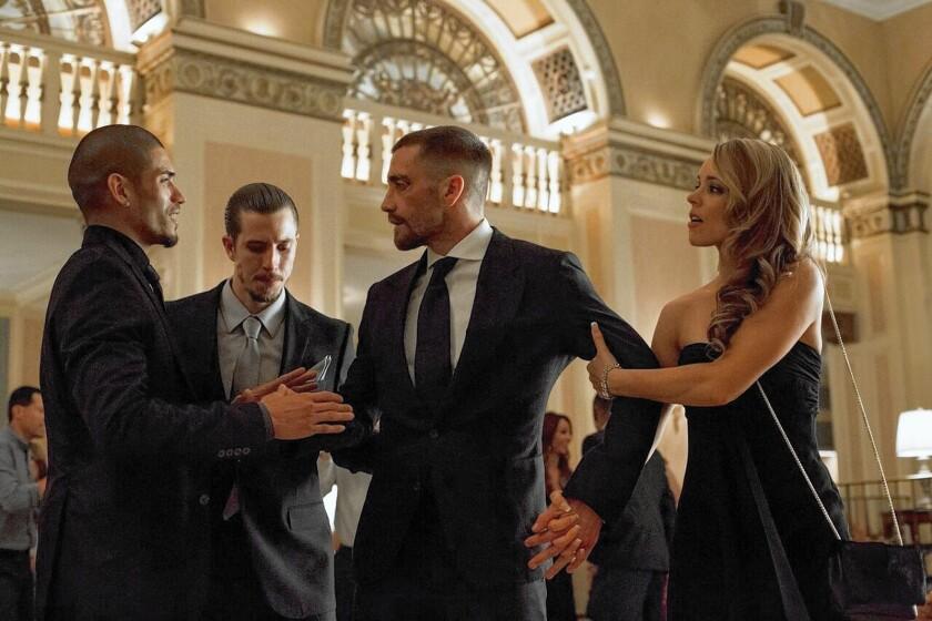 "Miguel Gomez, left, Beau Knapp, Jake Gyllenhaal and Rachel McAdams star in ""Southpaw."""
