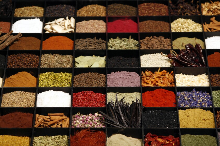Display of spices at a food show