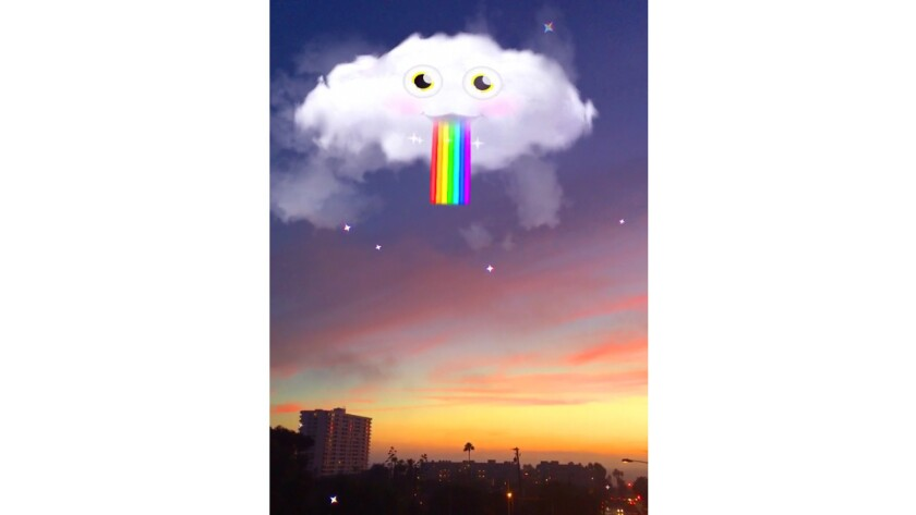 Snapchat now has a batch of special effects options that aren't tied to altering the look of a head or face. Among the first is adding silly clouds to an image.