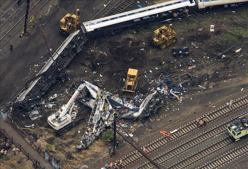 Aerial view of derailed Amtrak train in Philadelphia on May 13, 2015. EFE