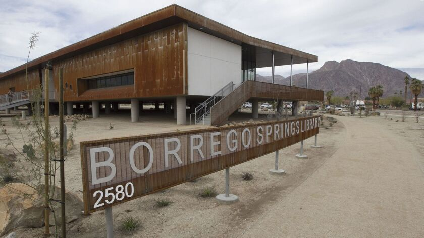 Exterior of the new Borrego Springs Public Library in the heart of the town.