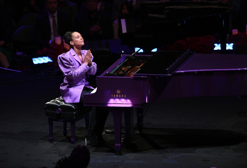 LOS ANGELES, CA., Alicia Keys performs at The Kobe & Gianna Bryant Celebration of Life on Monday at Staples Center on Monday 24, 2020 (Wally Skalij / Los Angeles Times)