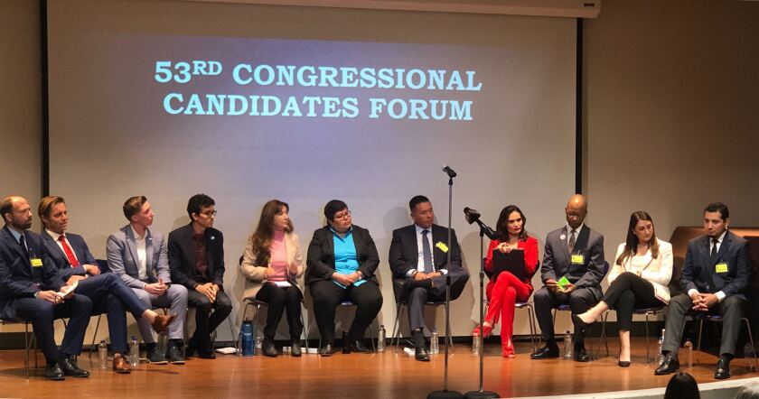 Candidates for the 53rd Congressional District attended a forum Saturday, Jan. 25, 2020. Candidates included, from left to right, Eric Kutner, Michael Patrick Oristian, Janessa Goldbeck, Jose Caballero, Suzette Santorini, Georgette Gomez, Fernando Garcia, Famela Ramos, John Brooks, Sara Jacobs and Joaquin Vazquez.