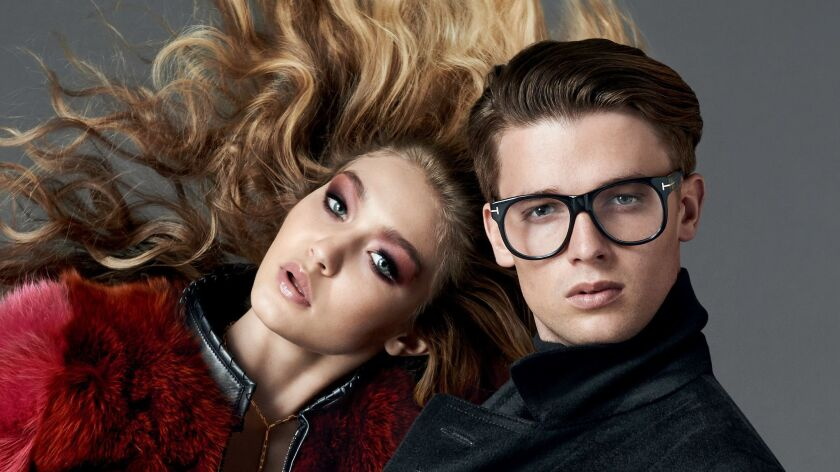 Image from the AW 14 Tom Ford Eyewear campaign featuring Gigi Hadid and Patrick Schwarzenneger PHOTO