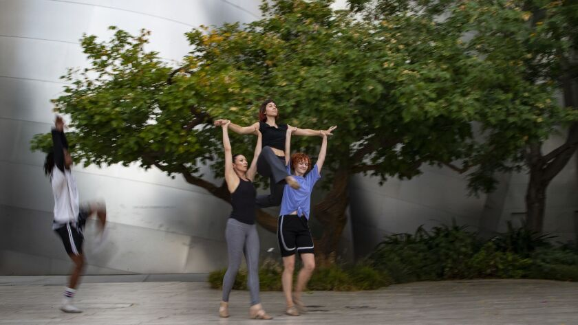 LOS ANGELES, CA - JULY 18, 2018: Dancers with eMotion Theatrix group rehearse for a Moves After Dar