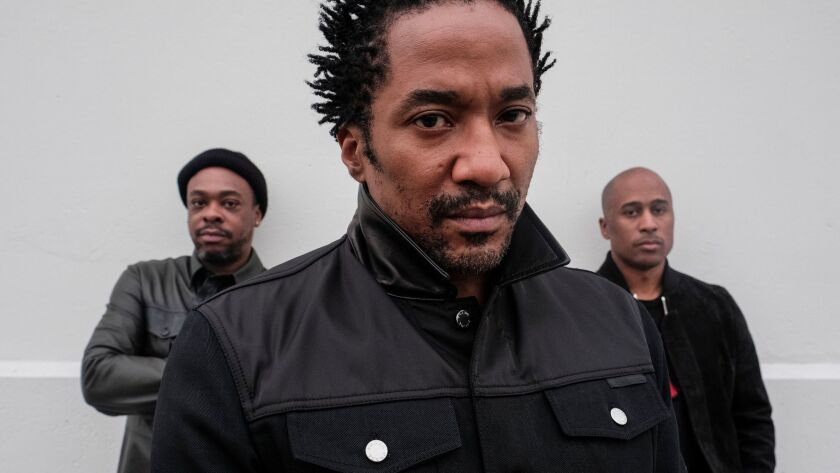 Q-Tip, front, Jarobi White, left, and Ali Shaheed Muhammad of the seminal hip-hop group A Tribe Called Quest.