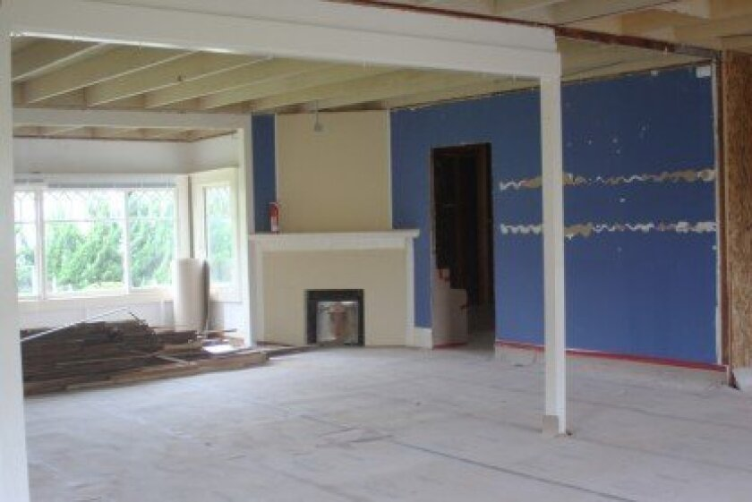 Wisteria Cottage's gallery space as seen during the La Jolla Historical Society's ongoing renovation of its Prospect Street campus. Ashley Mackin