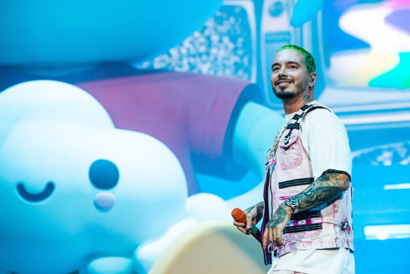 A photo of J Balvin at the 2019 Coachella Valley Music and Arts Festival Weekend 2, Day 2