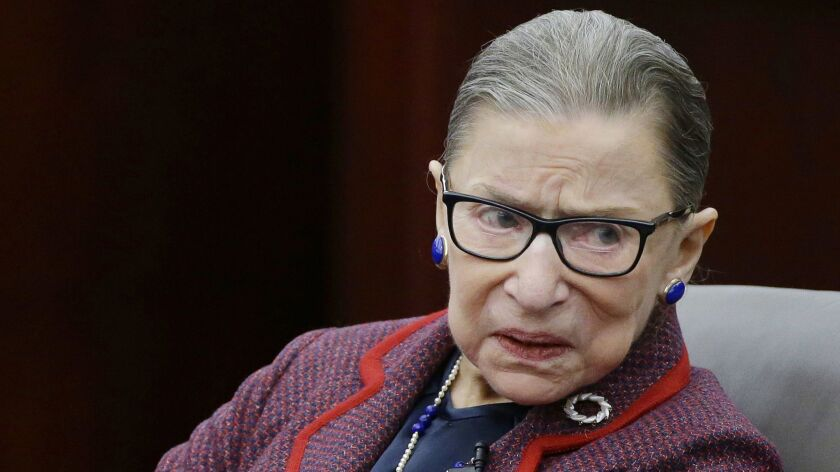 """In this Jan. 30, 2018 photo, Supreme Court Justice Ruth Bader Ginsburg participates in a """"fireside c"""