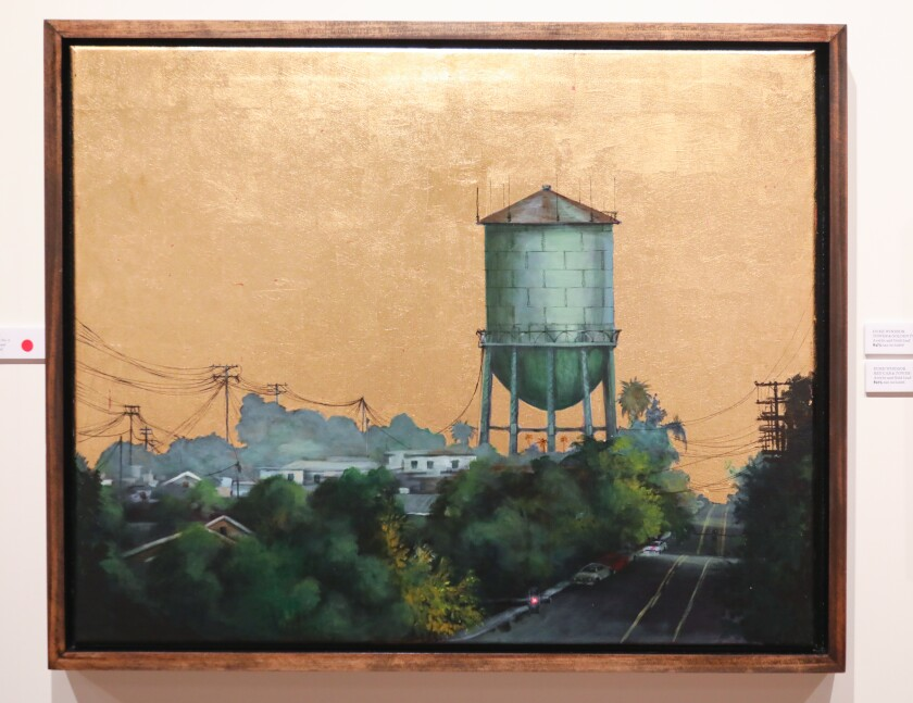 """""""Golden Tower No. 2,"""" one of San Diego artist Duke Windsor's, pieces of artwork in his solo show called """"Radiance"""" at Sparks Gallery in the Gaslamp Quarter."""