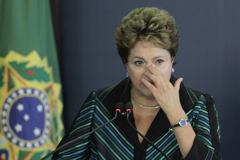 Brazilian President Dilma Rousseff cries during the release ceremony of the National Truth Commission Report in Brasilia on Wednesday.