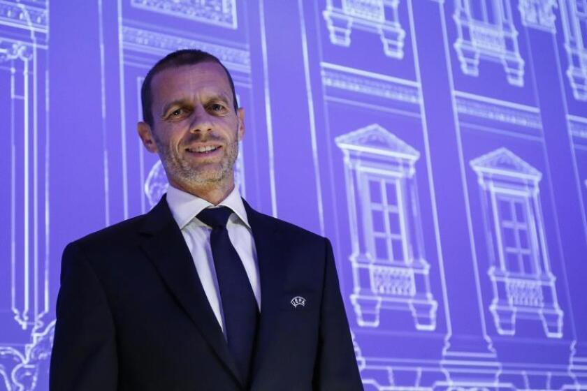 El presidente de la UEFA, Aleksander Ceferin, durante la celebración del 43 Congreso Ordinario de la UEFA, este jueves en Roma, Italia. EFE