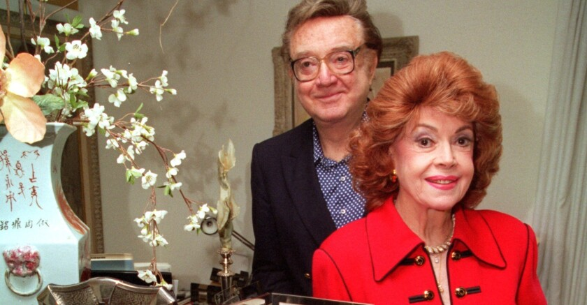 """Jayne Meadows with husband Steve Allen at their Encino home in 1995. They met on the """"I've Got a Secret"""" game show."""